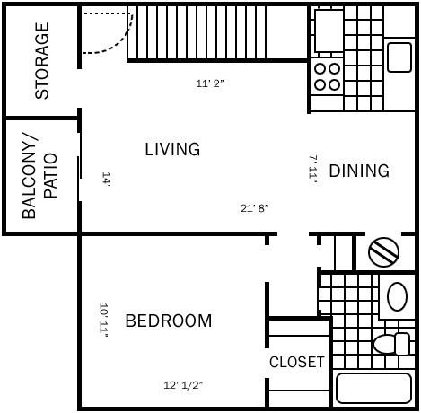 658 sq. ft. C floor plan