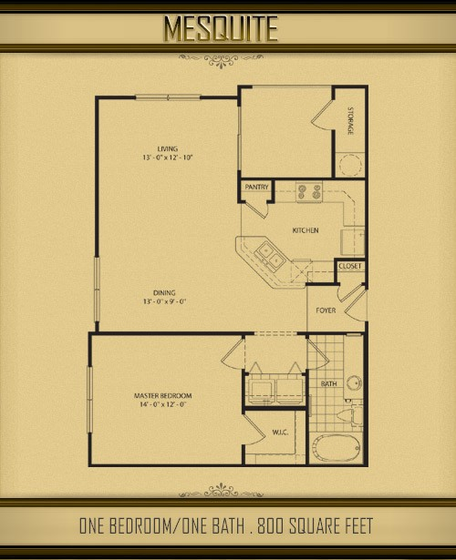 800 sq. ft. MESQUITE floor plan