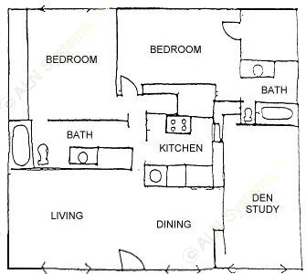1,212 sq. ft. SMALLEST FLAT 3BDRM 2BTH floor plan