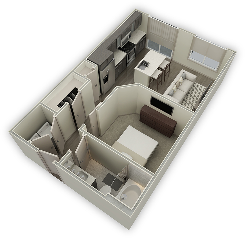 600 sq. ft. E1 floor plan