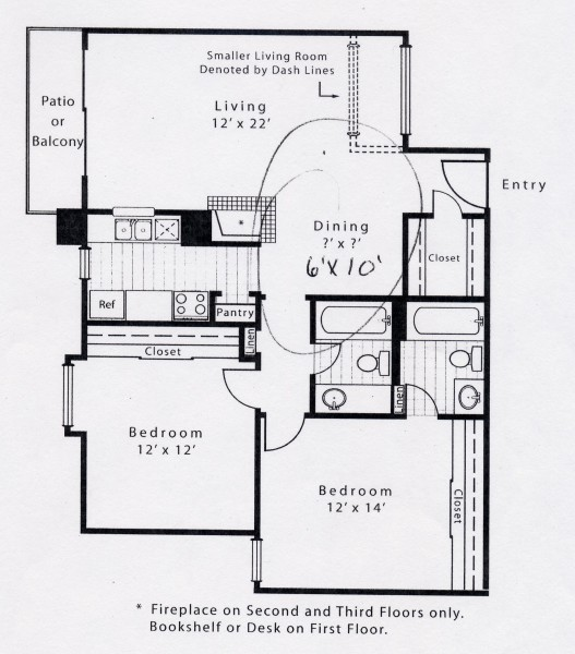 927 sq. ft. B2BFP floor plan