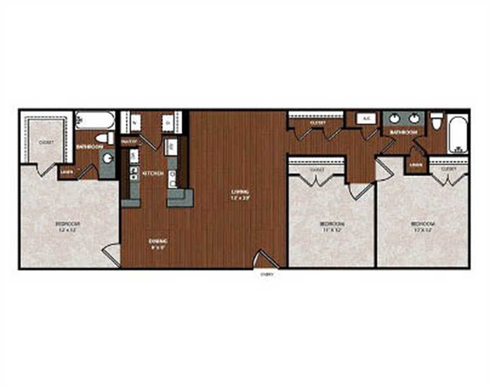 1,165 sq. ft. C2 floor plan