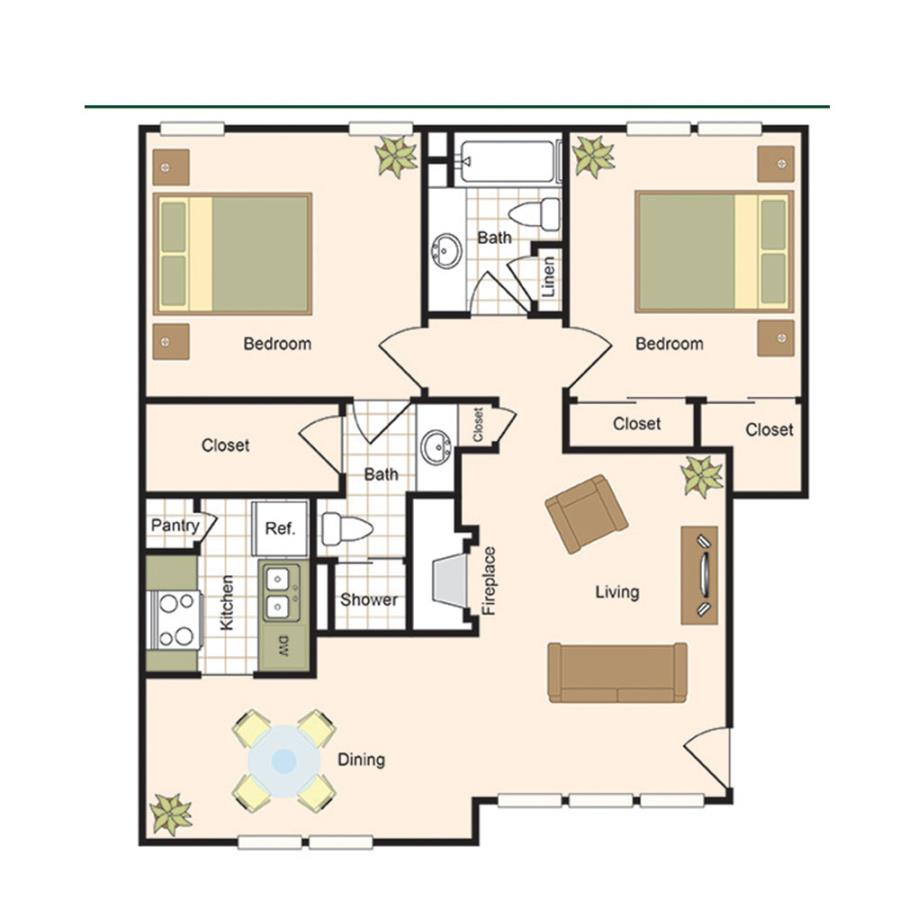 1,072 sq. ft. B4 floor plan