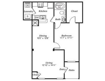 820 sq. ft. A3L floor plan