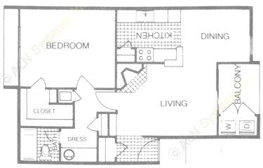 758 sq. ft. A2 floor plan
