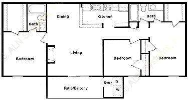 1,088 sq. ft. E floor plan