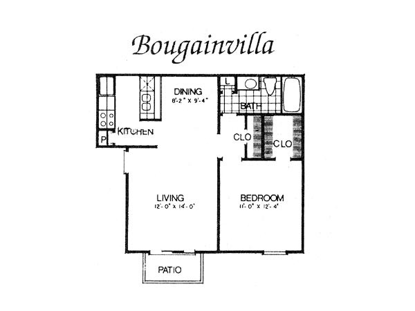 624 sq. ft. I A2 floor plan
