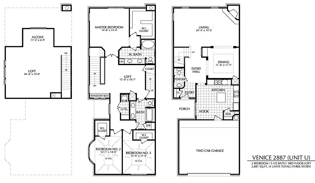 2,887 sq. ft. U floor plan