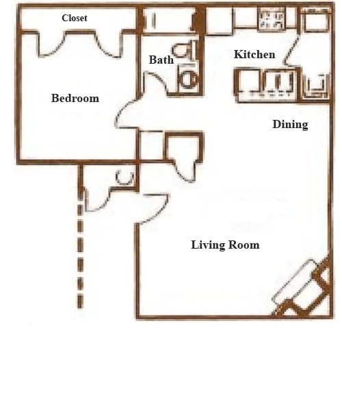 670 sq. ft. A-3 floor plan