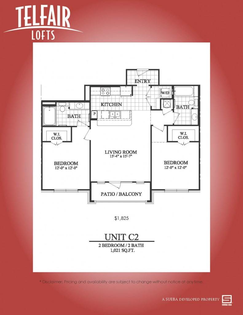 1,021 sq. ft. C2 floor plan