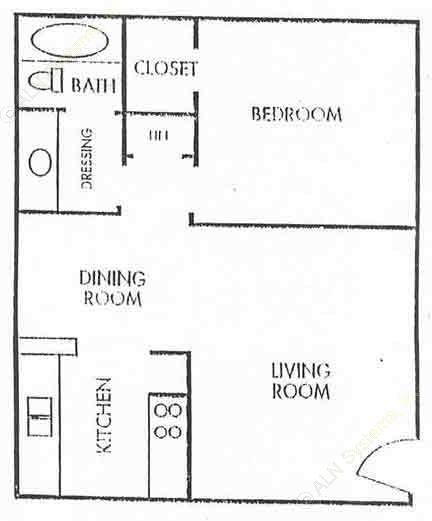 670 sq. ft. A1-LUX floor plan