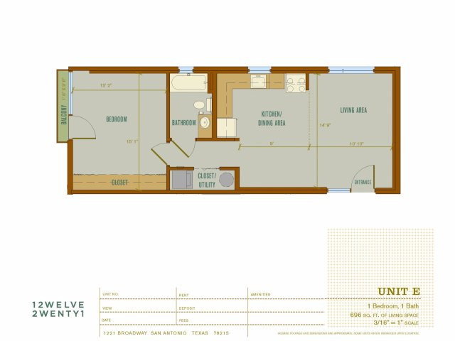 696 sq. ft. V1 floor plan
