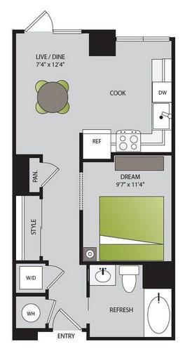 558 sq. ft. S1.1 floor plan