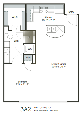 594 sq. ft. to 747 sq. ft. 3A2 floor plan