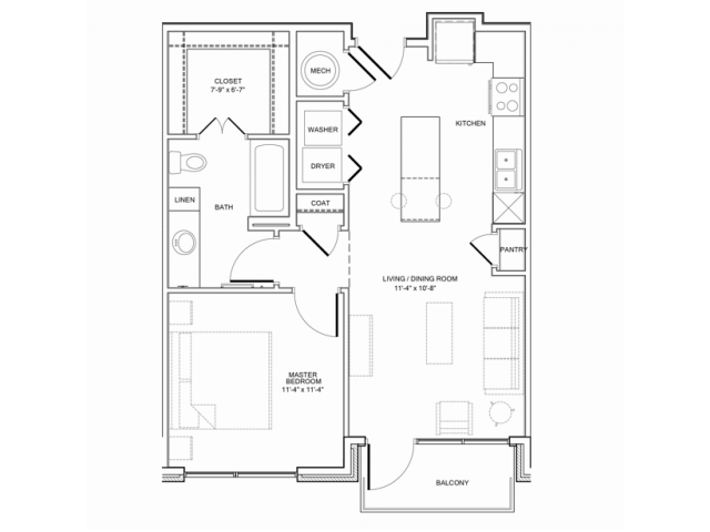 686 sq. ft. 1A floor plan