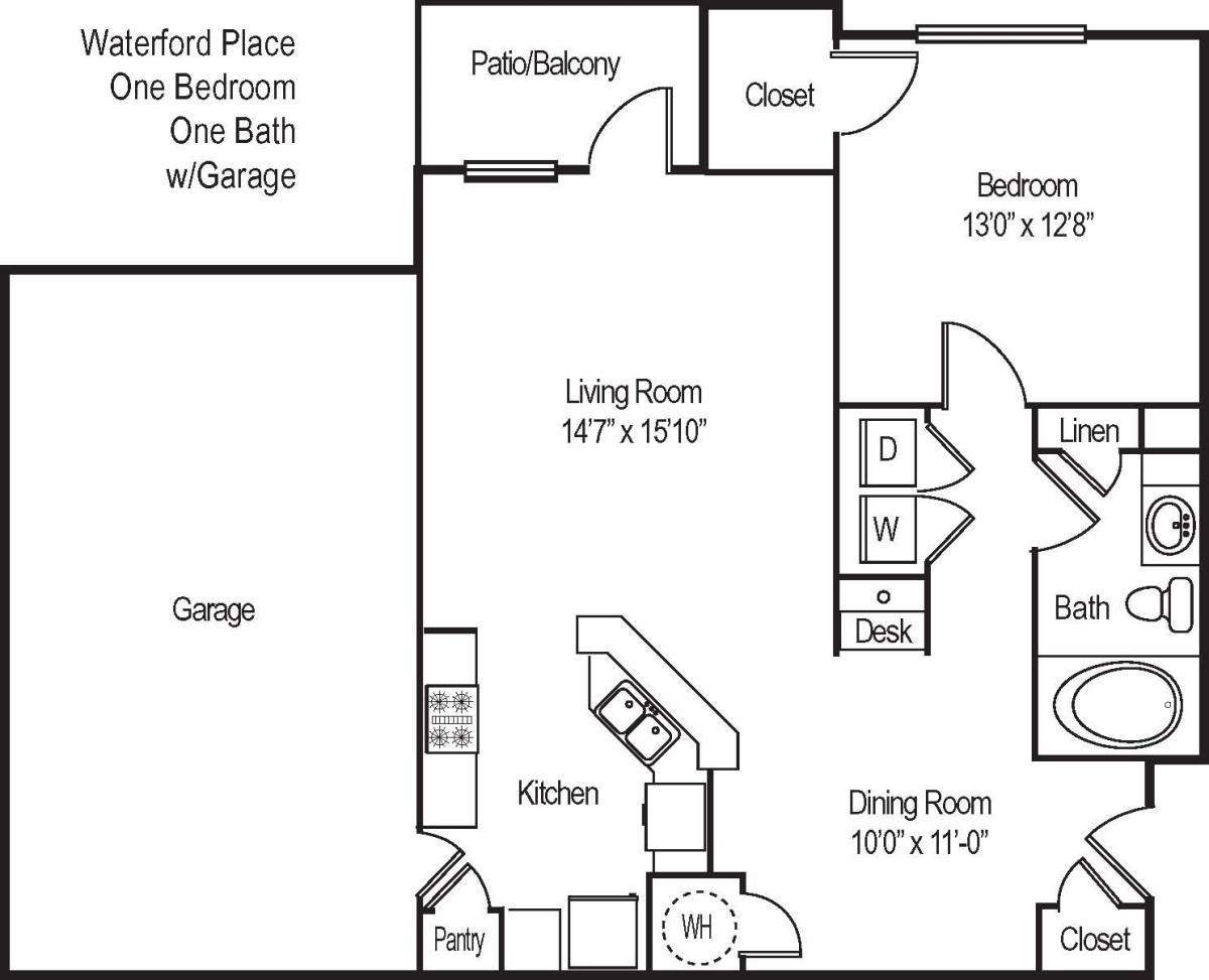 880 sq. ft. A21G floor plan