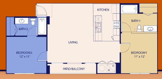 888 sq. ft. Deuce floor plan