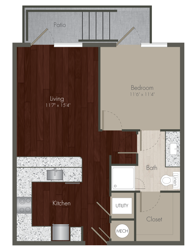 684 sq. ft. A2 ALT floor plan