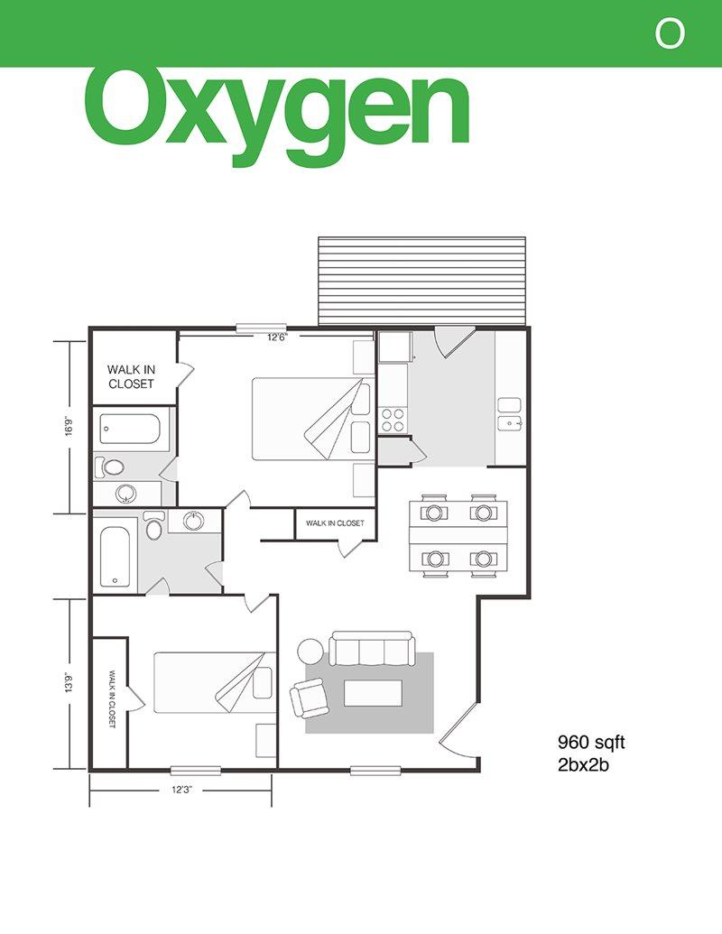960 sq. ft. Oxygen floor plan