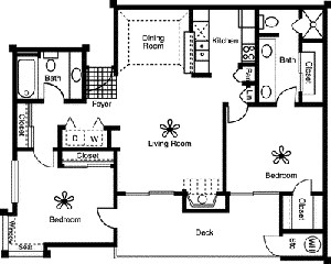 1,076 sq. ft. B1 floor plan