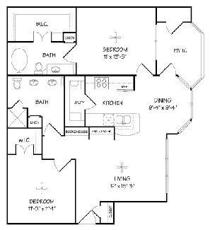 970 sq. ft. B/MILANO floor plan