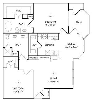 970 sq. ft. B/Milano floor plan