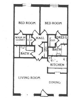 960 sq. ft. B-2 floor plan