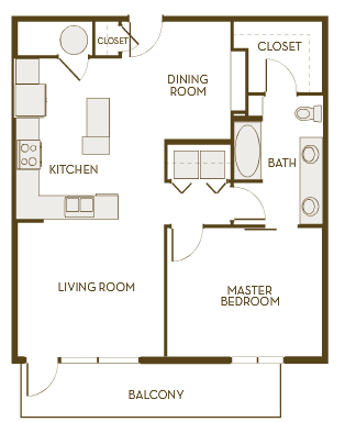 869 sq. ft. A1E floor plan