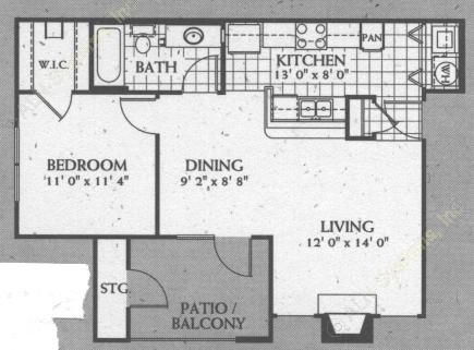 691 sq. ft. A2 floor plan