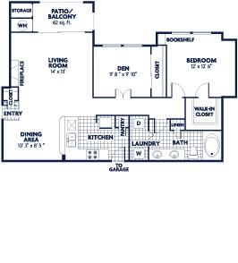 956 sq. ft. Peary floor plan