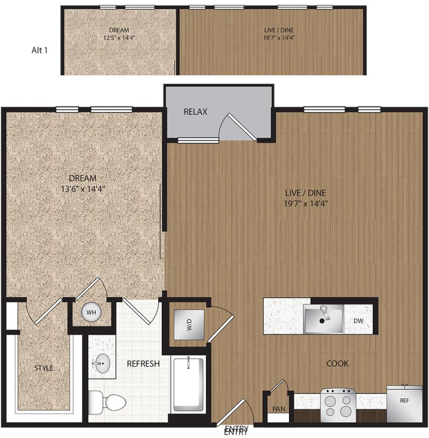 704 sq. ft. to 782 sq. ft. A3-Suite floor plan