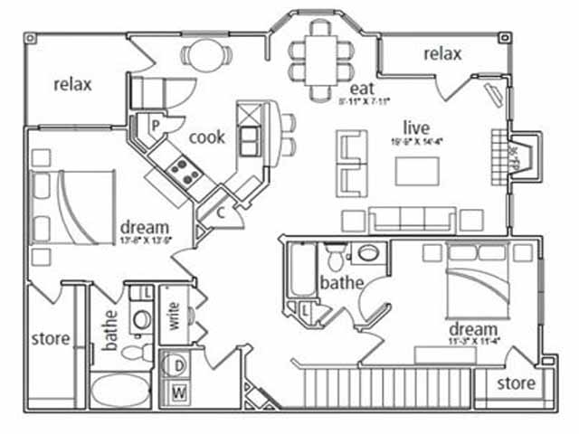 1,410 sq. ft. Barcelona floor plan