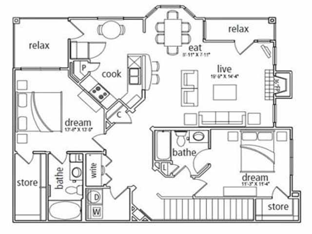 1,369 sq. ft. Barcelona floor plan