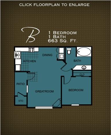 663 sq. ft. PLAN B floor plan