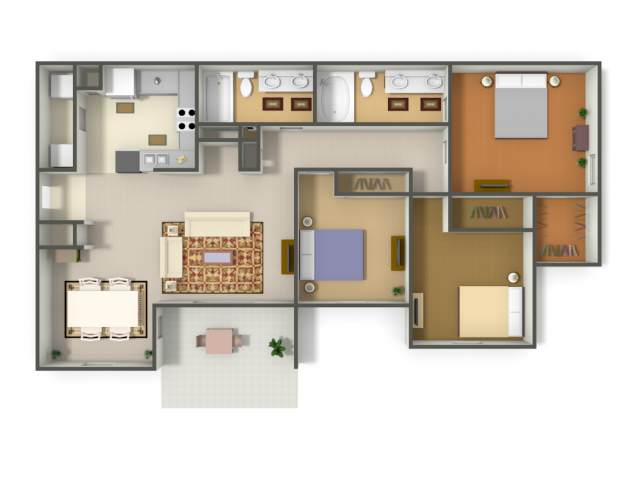 1,234 sq. ft. PUERTO VALLARTA (C1) floor plan