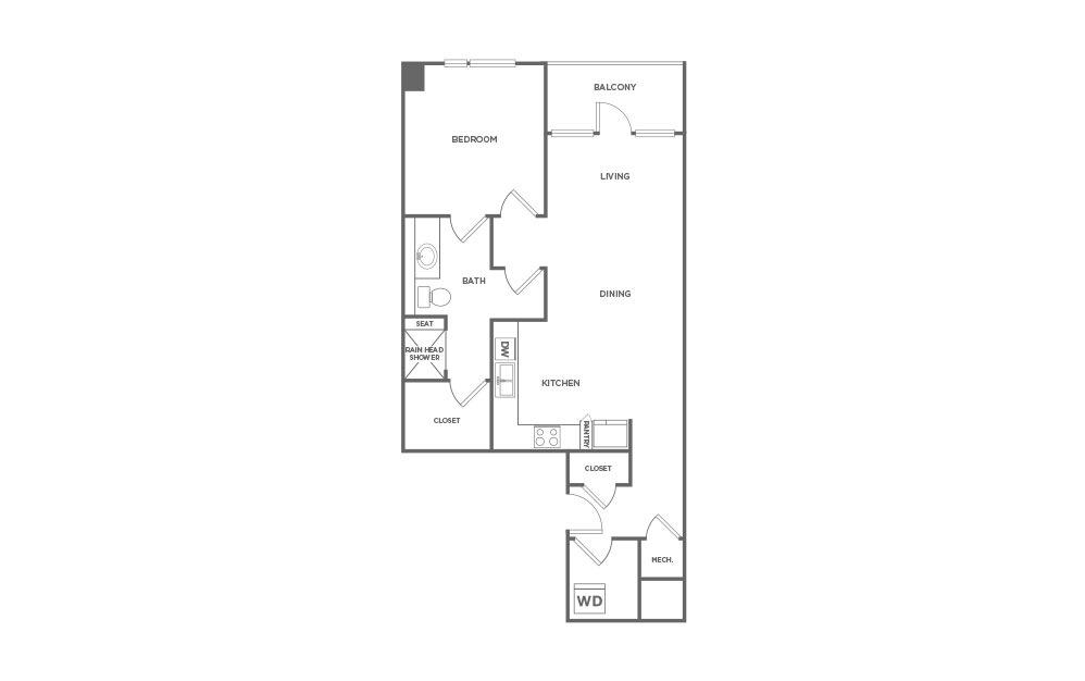 855 sq. ft. EA1.19 floor plan