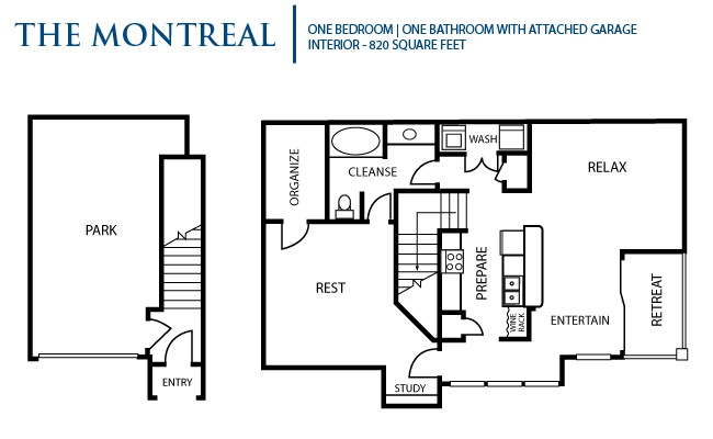 820 sq. ft. Montreal floor plan