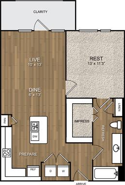 750 sq. ft. A7 floor plan