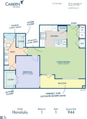 944 sq. ft. HONOLULU floor plan