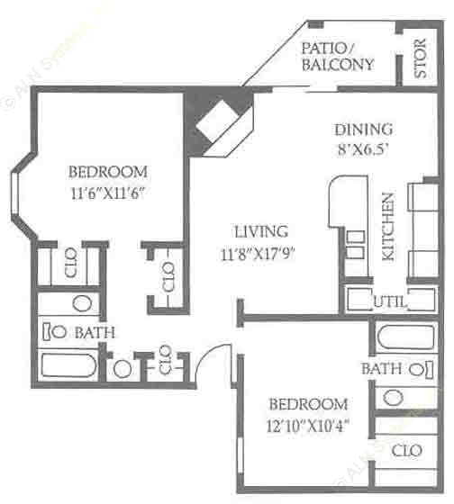 890 sq. ft. B2/50% floor plan