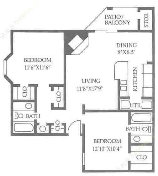 890 sq. ft. B2/50 floor plan