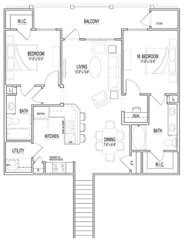 1,144 sq. ft. B1 Up floor plan