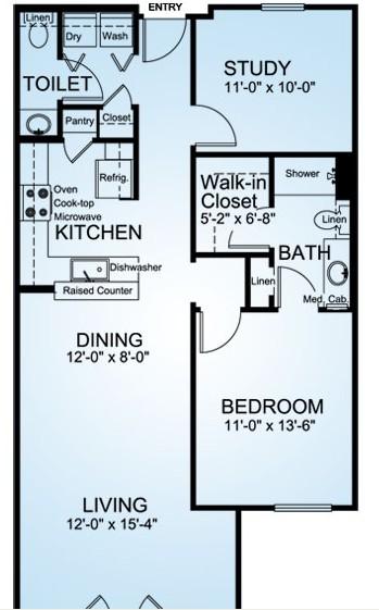 978 sq. ft. Peach Point floor plan