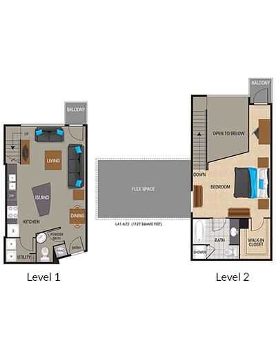 1,006 sq. ft. to 1,085 sq. ft. TA2/TA2.1 floor plan