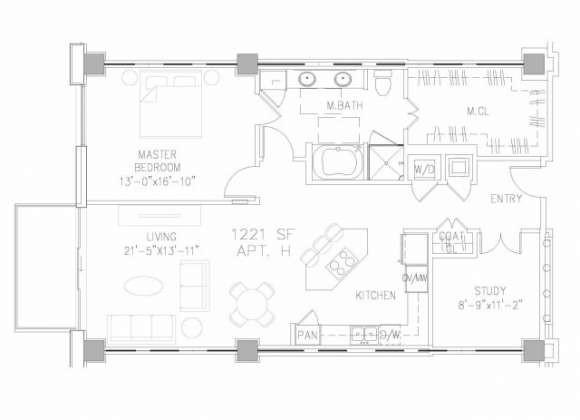 1,221 sq. ft. A8 floor plan