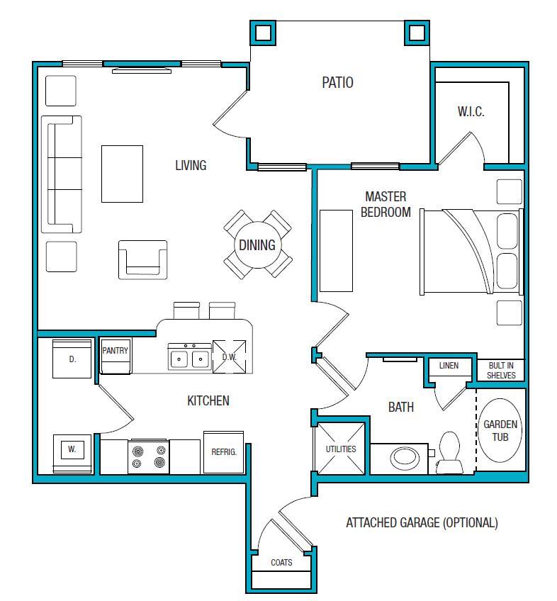 757 sq. ft. A1 floor plan
