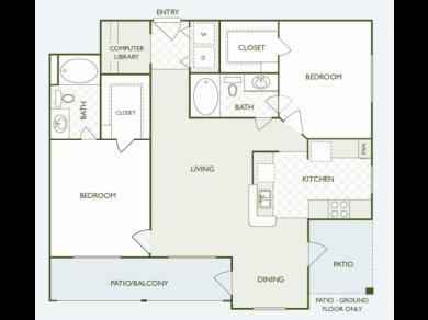 1,095 sq. ft. B2 floor plan
