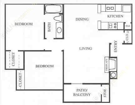 832 sq. ft. B1 floor plan