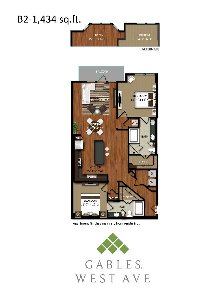1,434 sq. ft. B2 floor plan