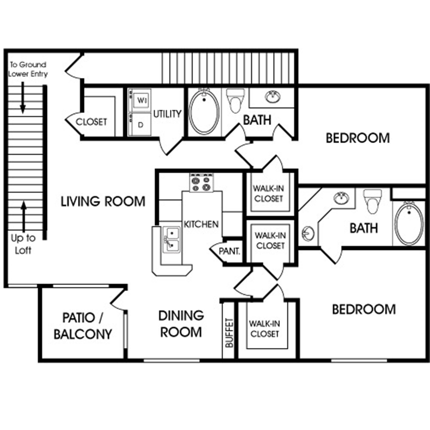 1,454 sq. ft. B3 floor plan